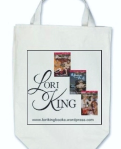 Lori King Books Totebag, with Logo and the first 3 Gray Pack book covers!
