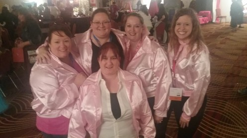 5-14-16 Pink Ladies costume Bryce Evans, Lisa Carlton, Lori King, Stacy Jordet, Jo Teerman