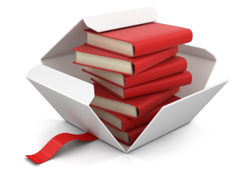 Open package with books. Image with clipping path
